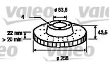 2x VALEO Front Brake Discs Vented 258mm For FORD PUMA FIESTA STREET 186560