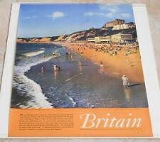 VINTAGE BOURNEMOUTH HAMPSHIRE ENGLAND BRITAIN ETCHES PHOTO TRAVEL POSTER 1958
