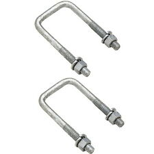 2 Pack of 3/8 Dia x 3-1/16 W x 4-7/8 L Boat Trailer Square Galvanized U-Bolts