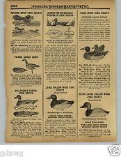 1929 PAPER AD Johnson's Stake Out Fiber Board Duck Decoy Stoner Gundelfingers
