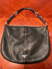 PRADA Black Leather Shoulder hobo purse