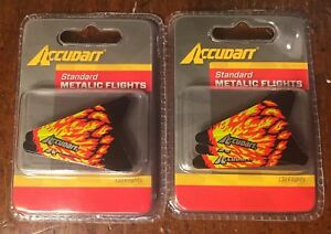 Lot 2 ACCUDART Standard Metallic Flights Red Flame Pack of 3 Each Metalic Darts