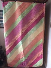 GARNET HILL Pink~Green~Yellow Stripe and Polka Dot Patchwork Quilt & Sham TWIN