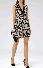 Designer REISS Cate print silk dress size 12 --BRAND NEW--natural/black 100%Silk
