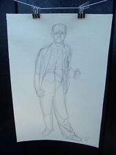 Old Man With Thumbs Up Portrait 1953 Original Pencil Sketch By C. Kelm