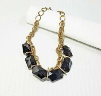 Vintage Gold Tone Multi Strand Chain Link and Chunky Black Acrylic Bead Choker N