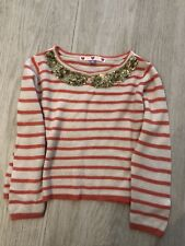 Girls Orange And White Stripped John Lewis Jumper With Gold Sequin Collar, Age 4