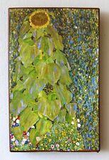 """Gustav Klimt """"Sonnenblume"""" Bauerngarten Unikat Einzelstück auf altem Ziegel 49"""