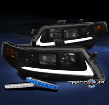 FOR 2004-2008 ACURA TSX CL9 LED PROJECTOR BLACK/SMOKE HEADLIGHT +BLUE DRL SIGNAL