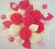 Purple ivory rose bouquet edible sugarpaste flowers cupcakes wedding birthday
