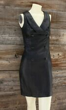 Vintage Black Leather Dress Made in Mexico Size Small