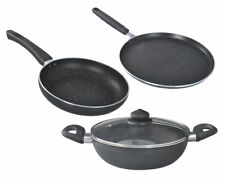 Prestige Omega Deluxe Granite Finish Set of 3 Pieces with 1 Glass Lid