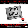 RING BELL FOR SERVICE - SILVER SIGN - LABEL - PLAQUE w/ Adhesive 50mmx40mm