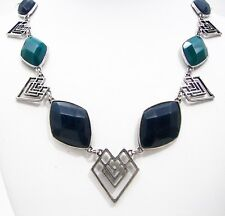 Lucky Brand Tribal Necklace Blue & Green Stone Openwork Silver Tone Metal