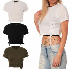 Camisas y tops de mujer Camiseta corta color principal negro de poliéster