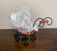 "Vintage BABY DOLL CARRIAGE Stroller Buggy Wicker Wood Victorian Fits 7"" Doll"