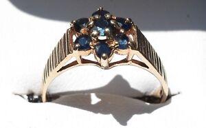 9ct Yellow Gold Flowerhead Sapphire Ring London Hallmark