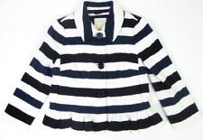KATE SPADE WOMENS BLUE BLACK WHITE STRIPED RUFFLE ALL ABOARD COAT ARI JACKET S:0