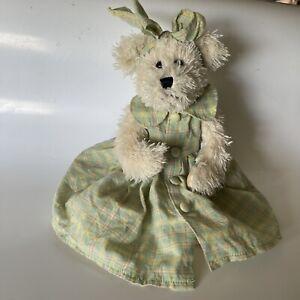 Terry's Village Plush White Teddy Bear- dress- bow- green purple yellow Used