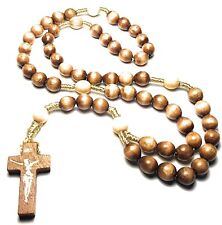 Brown Holy Relic Rosary touched first class relics St Faustina St Padre Pio JP2