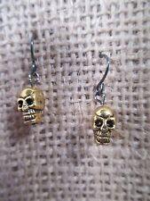 Earrings gold tone skull dangle black French hook  Halloween/Goth
