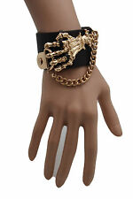 Women Brown Faux Leather Bracelet Fashion Gold Metal Chains Skeleton Skulls Hand