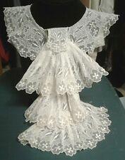 """Vtg Antique Lace Collar Brussels Point de Gaze Lace 16"""" long Edwardian"""