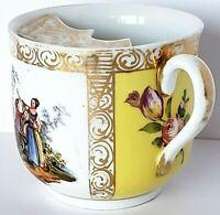 Helena Wolfsohn Dresden German Yellow Quatrefoil Courting Couples Mustache Cup