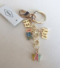 Fossil Text Charms Key Fob/Ring- YAY HEY COOL OMG  gold tone -charms