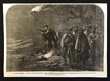 1862 Original  Newspaper Print, USA Civil War, A Night Alarm in the Federal Camp
