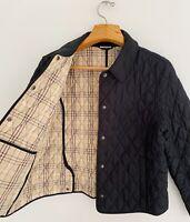 Vintage L.L.BEAN Women Quilted Jacket Sz PL Black Snap Button Plaid Lining