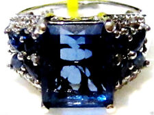BLUE FLUORITE OCTAGON, BLUE SAPPHIRE & DIAMOND RING, SILVER, SIZE 7, 5.31(TCW)
