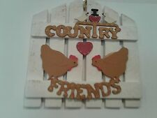 WOODEN WHITE FENCE COUNTRY FRIENDS WALL HANGING