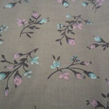 200cm X 89cm Vintage cotton Fabric 1950s Pink & Blue Blossom Floral Grey Craft