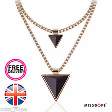 NEW Triangle Black Gold Spike Necklace Double Chain Womens Choker Ladies UK P&P