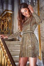 b2fdc285 Inthestyle Premium Gold Sequin Metal Trim Bodycon Dress Size UK 8 Dh091 BB  01