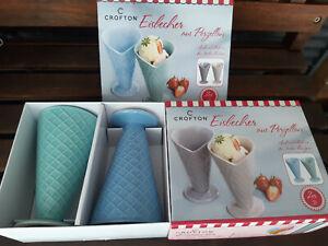 4  Eisbecher Porzellan in Eistütenform pastrellfarben lila rosa grün blau OVP
