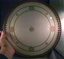 Fabulous Art Deco Geometric Enamel Ceramic Metal Rim Large Round Tray!  WOW!