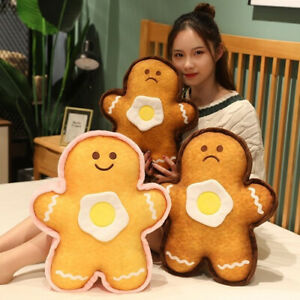 Plush Biscuit Man Toys Kawaii Bread Dolls with Egg Cartoon Pillow Stuffed Gifts-