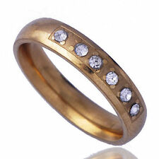 Fashion love Womens wedding Ring Clear crystal 9k Gold Filled Size 6