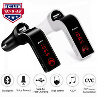 Bluetooth Car AUX Audio Receiver MP3 FM Wireless Transmitter Adapter USB Charger