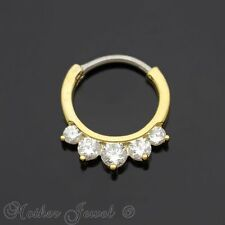 14K YELLOW GOLD IP SIMULATED DIAMOND NOSE SEPTUM PIERCING HOOP EAR RING