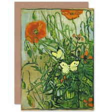 Vincent Van Gogh Butterflies And Poppies Fine Art Blank Greeting Card