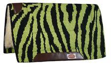 "32""x32"" LIME GREEN Zebra Print New Zealand Wool Saddle Pad w/ Wear Leathers! NEW"