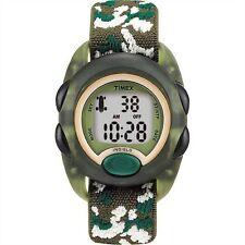 Kids Timex Indiglo Sport Alarm Digital Green Elastic Fabric Band Watch T71912