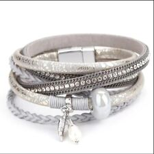 ALLYES Gray Color Leather Bracelets Jewelry Femme Bracelet Wrap Layer Multi