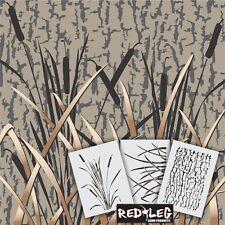 "Redleg Camo GKM 3 Piece Grass camouflage Stencil kit 12""x9"" airbrush duck boat"