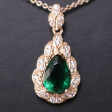 Emerald Green Teardrop Diamond Halo Pendant Necklace Rose Gold Plated Jewelry