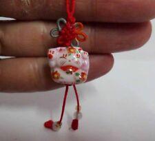 Brand New Maneki Neko Lucky Cat Ceramic Pink Fortune Knot Cell Phone Charm