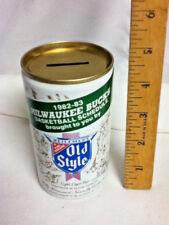 "Old style aluminum beer can Milwaukee bucks bank 1982 - 1983 12 oz. 4.75"" AY8"